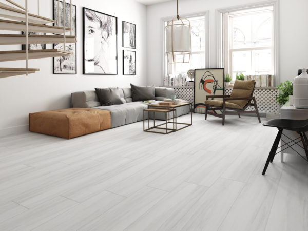 Zante White 9x47 porcelain wood look tile